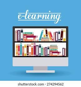 e-learning design over blue background, vector illustration