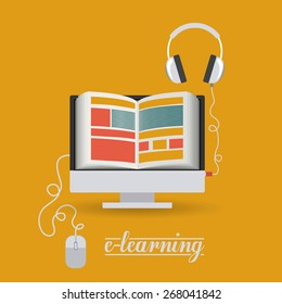 e-learning design over yellow background, vector illustration