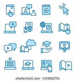 E-learning distance education flat line icons. Set of graduation cap, training, laptop, learn online, webinar symbols. Editable Strokes.