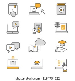 E-learning distance education flat line icons. Set of graduation cap, training, laptop, learn online, webinar and more. Editable Strokes.