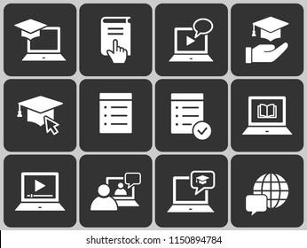 E-learning distance education icons. Set of graduation cap, training, laptop, learn online, webinar symbols.