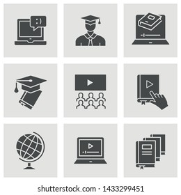 E-learning distance education icons. Set of graduation cap, training, laptop, learn online, webinar symbols.