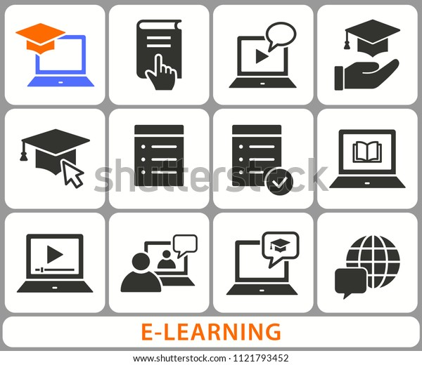E-learning distance education icons. Set of graduation cap, training, laptop, learn online, webinar symbols. Black vector illustrations isolated on white. Simple pictograms for graphic and web design.