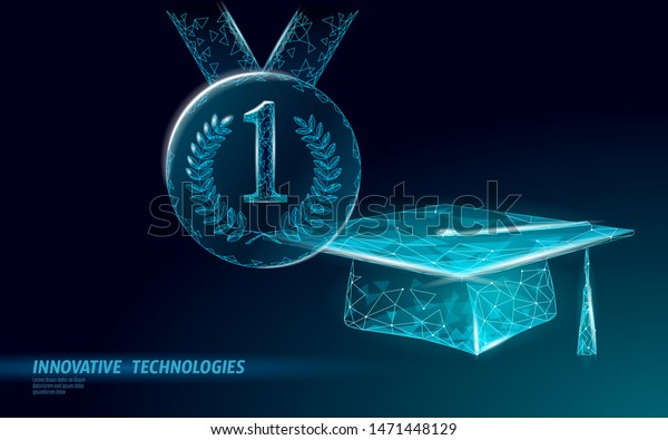 E-learning distance graduate certificate achievement program concept. Low poly 3D first 1 place winner contest. Internet education business course success degree vector illustration