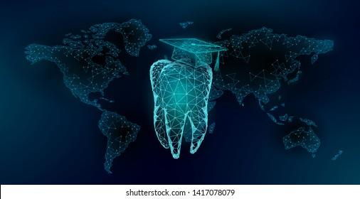 E-learning distance medicine dental graduate certificate program concept. Low poly 3D render graduation cap tooth World map banner template. Internet education course degree vector illustration