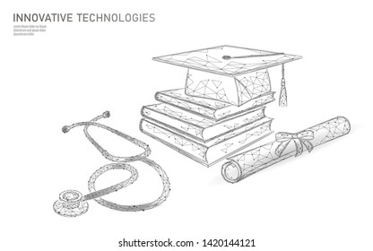 E-learning distance medicine graduate certificate program concept. Low poly 3D render graduation cap diploma and stethoscope banner template. Internet education course degree vector illustration