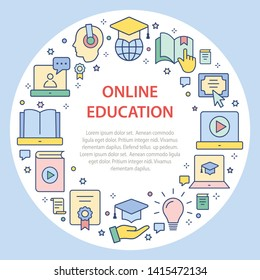 E-learning education circle template flat icons. Set of education, webinar, distance, student, training, online and more.