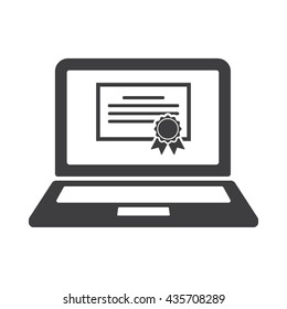 E-learning education icon on the white background
