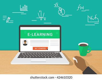 E-learning flat illustration of human hand using laptop for distance elearning studying and education. Man sitting at home and getting started learning educational tutorial on website in laptop screen
