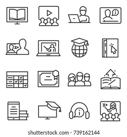 e-learning icon set, thin line design. Distance learning specialty. Line with editable stroke