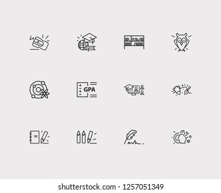 Elearning icons set. Archaeology and elearning icons with notepad, online course and astrophysics. Set of academic for web app logo UI design.