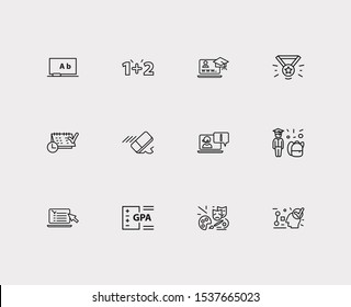 Elearning icons set. Logics and elearning icons with online test, school boy and art. Set of drawing for web app logo UI design.