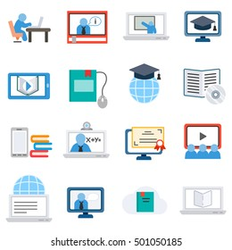 eLearning, icons set. Remote study, flat design. Training on the internet, isolated vector illustration. webinar and online lectures, symbols collection.