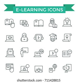 E-learning icons, thin line, flat design