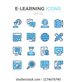 E-learning icons. Vector line icons set. Premium quality. Simple thin line design. Modern outline symbols, pictograms.