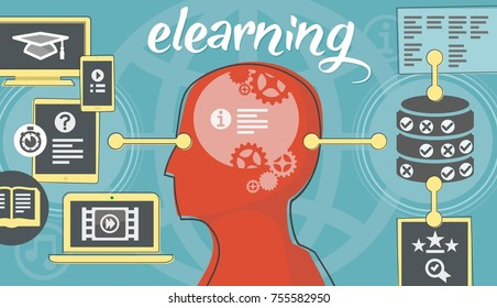 elearning ideographic featuring online lesson icons processed by head with outputs recorded to database - bright colourway