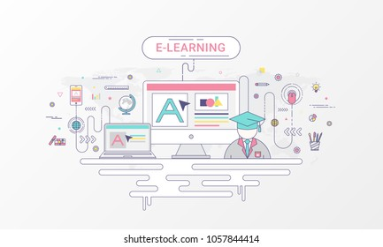 E-learning infographic concept. Computer and online education icons on world map background created by the vector. Flat line style in soft color tone.