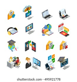 E-learning isometric icons set with books and education symbols isolated vector illustration