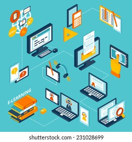 E-learning isometric icons set with computer notebook and books isolated vector illustration