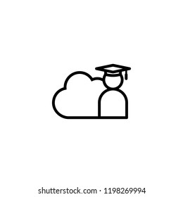 E-learning line icon. Online internet education symbol. graduation cap with cloud concept. digital graduate business sign. logo for web site, mobile app, UI, infographic. Isolated vector illustration