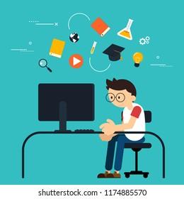 E-learning modern education concept flat design, vector illustration