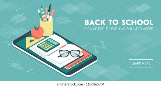 E-learning and online courses app with icons, books and tools, education and back to school concept