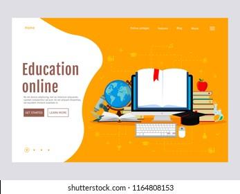 E-learning, online education concept. Web page design templates. Modern vector illustration for website. Eps 10.