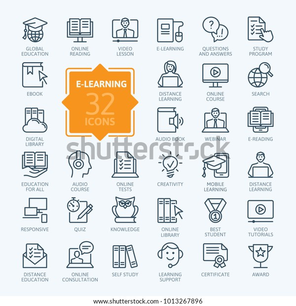 Elearning Online Education Elements Minimal Thin Stock Vector Royalty Free 1013267896