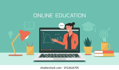 E-learning or online education, home school, woman teacher teaching via computer laptop screen, distance learning, online course concept, flat vector illustration