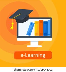 E-learning, online education logo template. Digital library in monitor emblem and graduation hat. Simple vector illustration.