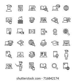 e-learning and online study bolt line icons black set on white background