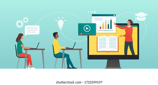 E-learning platform and distance learning: academic students following online courses in a virtual class