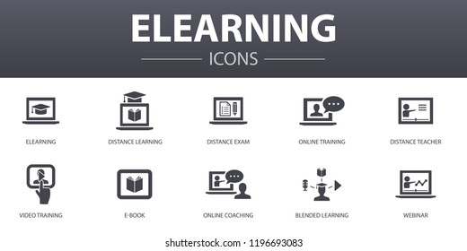 eLearning simple concept icons set. Contains such icons as Distance Learning, Online Training, Video training, Webinar and more, can be used for web, logo, UI/UX