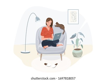 Elearning study, work at home, online education concept design. Girl with laptop sitting on the armchair at her house, dressed in home clothes. Vector illustration isolated on white background.