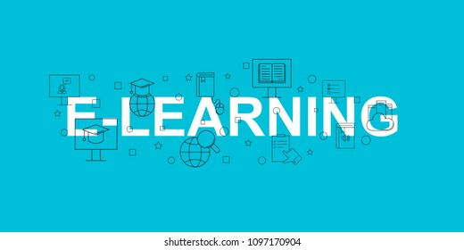 E-learning vector banner. Word with line icon. Vector background