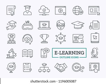 E-learning Vector Icons. Education Thin Line Signs for Web.