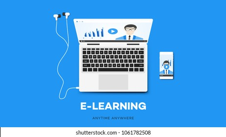 E-learning Vector Illustration With Smartphone, Notebook, And Teacher On The Screen. Conceptual Multiplatform Educational Template.