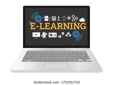 E-learning word with educational subject flat icons on laptop, Connect the internet for studying with computer, mobile phone, economics, investment, math, chemical, physics, mechanic and cloud compute
