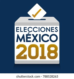 Elecciones Mexico 2018, Mexico Elections 2018 spanish text, presidential election day vote ballot box.