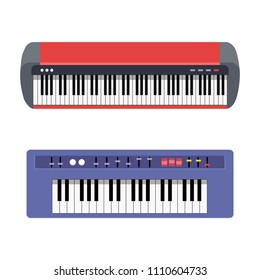 Elecronic piano set isolated on white background. Keyboard piano musical  instruments. Music synthesizer. Cute flat cartoon style. Vector illustration
