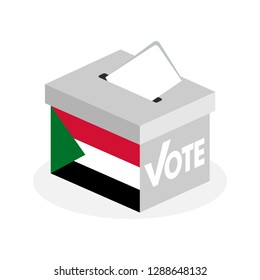 Election ballot box with a combination of the Sudanese state flag