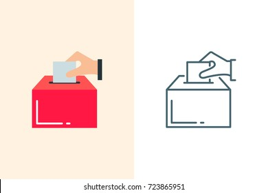Election box icon flat and linear style