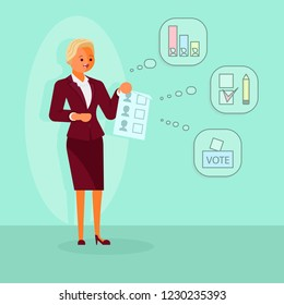 Election campaign concept vector flat style illustration. Election official woman talking about ballot paper filling procedure in order to give assistance to voters.