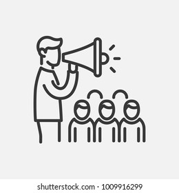 Election campaign- line design single isolated icon on white background. High quality black pictogram. An image of a man speaking with a megaphone in front of the public