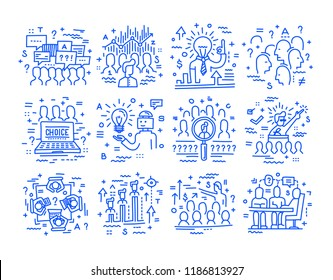 Election campaign, sociology, social research interviewing, recruitment. Set of vector linear icons.