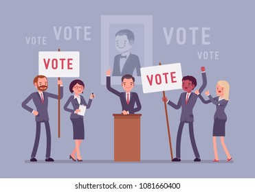 Election campaign voting. Politician or party candidate in excited speech persuades to vote for him, active people at meeting holding signs, banners to support. Vector flat style cartoon illustration