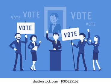 Election campaign voting. Politician, party candidate in excited speech persuades to vote for him, active people at meeting holding signs, banners to support. Vector illustration, faceless characters