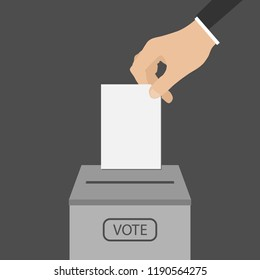 Election concept. Hand putting voting ballot in ballot box. Vector isolated illustration.