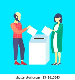 election day concept casual woman man voters couple putting paper ballot list in box during voting male female cartoon characters full length flat blue background