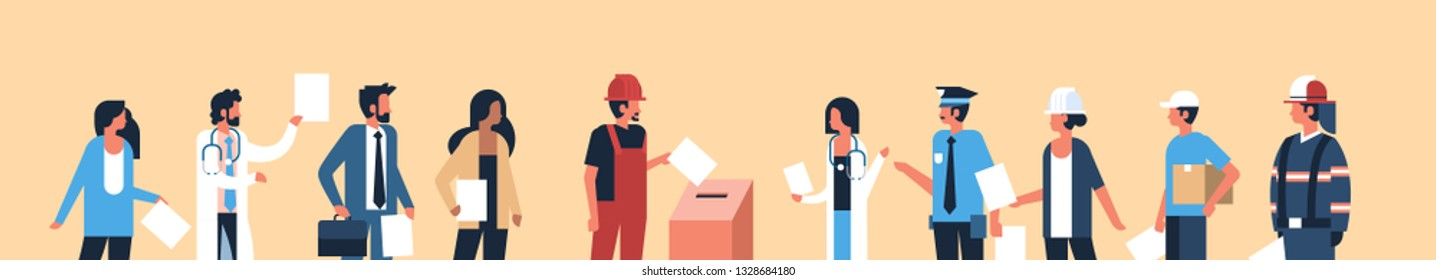 election day concept different occupations voters casting ballots at polling place during voting mix race people putting paper ballot in box portrait flat horizontal banner